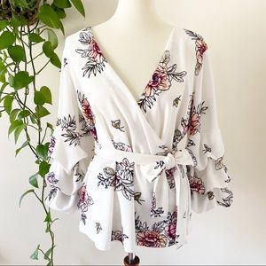 Maurices Floral Ruffle Sleeve Wrap Front Blouse